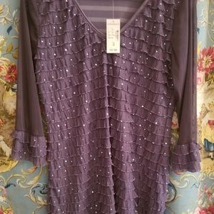 Dress Barn Purple Top With Ruffles & Sequins
